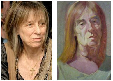 A photo of Suze, <i>left</i> and a detail of a painting I did of my sister Alexandra, <i>right</i>.  There is a resemblance especially in the hair